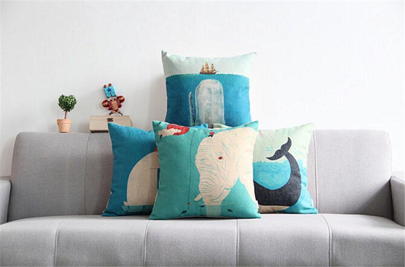 海洋风棉麻抱枕3